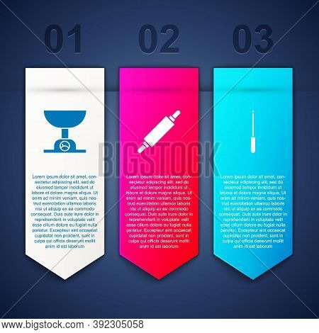 Set Electronic Scales, Rolling Pin And Knife Sharpener. Business Infographic Template. Vector