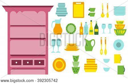 Pink Vintage Sideboard Dishware Collection, Kitchen Utensils For Cooking