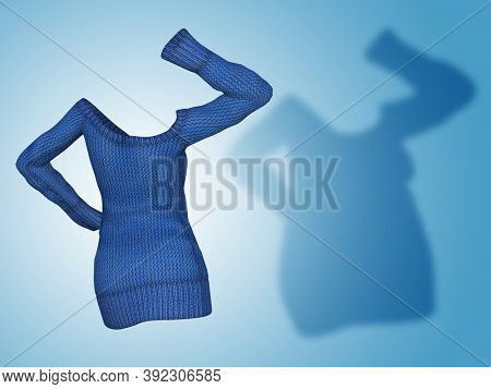 Conceptual fat overweight obese shadow female sweater dress vs slim fit healthy body after weight loss or diet thin young woman on blue. A fitness, nutrition or obesity health shape 3D illustration