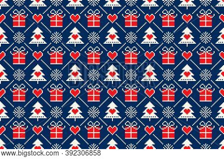 Winter Holiday Pixel Seamless Pattern With Christmas Symbols. Christmas Trees, Snowflakes, Present B