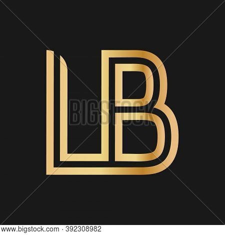 Uppercase Letters L And B. Flat Bound Design In A Golden Hue For A Logo, Brand, Or Logo. Vector Illu
