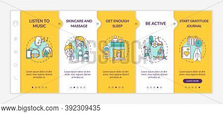 Self Care Practices Onboarding Vector Template. Start Daily Gratitude Journal. Be Active Person. Res