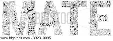 Word Mate. Vector Decorative Zentangle Object For Coloring