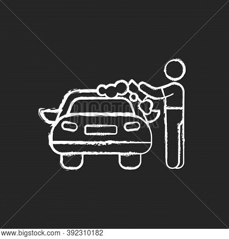 Car Washer Chalk White Icon On Black Background. Washing And Polishing Car Interiors And Exterior. A