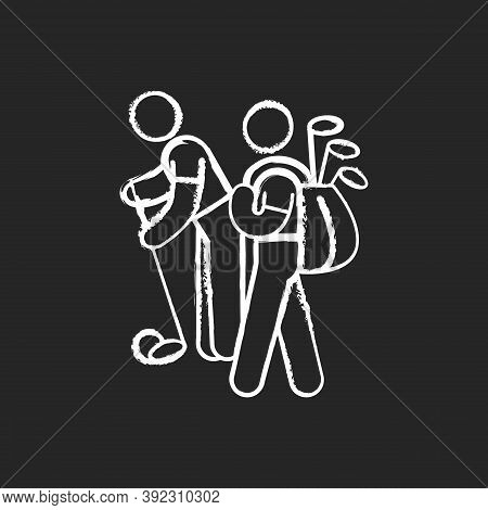 Caddy Chalk White Icon On Black Background. Providing Support To Professional Golf Players. Caddie-m