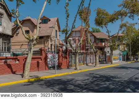 Colorful Houses In The Bellavista District, Santiago, Chile