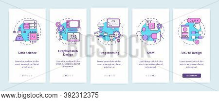 Top Careers In It For Creative Thinkers Onboarding Mobile App Page Screen With Concepts. Data Scienc