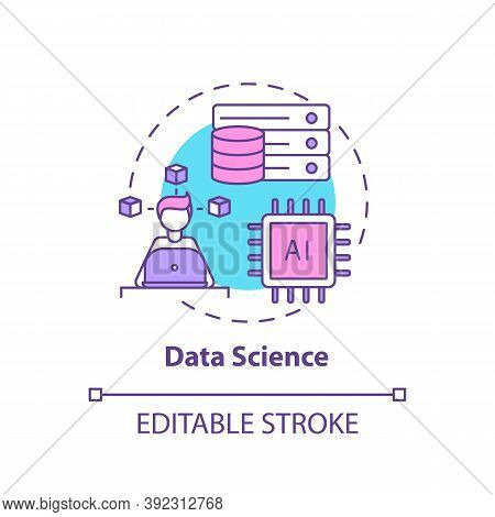 Data Science Concept Icon. Top Careers In It For Creative Thinkers. Future Cyberspace Engineering Id