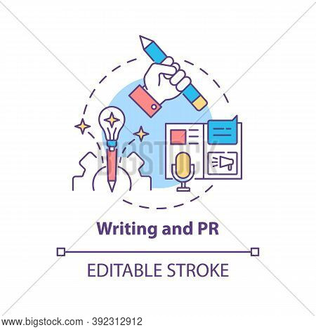 Writing And Pr Concept Icon. Top Careers For Creative Thinkers. Reach Your Target Audience. Public R
