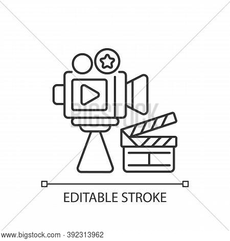 Cinema Industry Linear Icon. Motion Picture Industry. Filmmaking. Film Production Companies. Thin Li