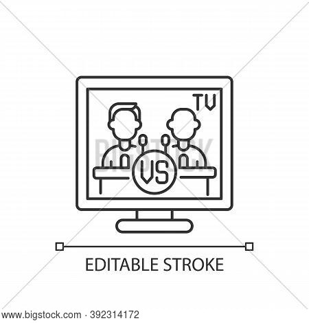 Televised Debates Linear Icon. General Election Campaign. United States Presidential Debates. Thin L