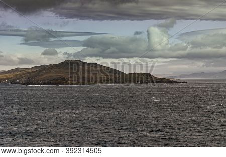 Cape Horn, Wollaston Islands, Chile - December 14, 2008: Hilly Brown-green Hornos Island With Cape M