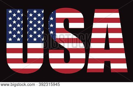 Usa Vector Lettering Symbol.usa Flag Icon. Usa Flag In Grunge Style. Old Dirty American Flag.