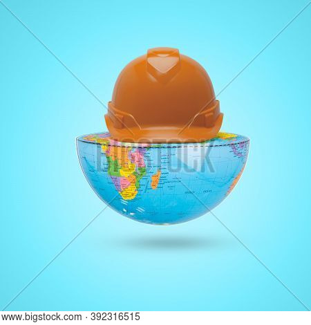 Orang Labor Helmet On Half Earth, Labor Day,1 May Holiday, Global Engineering Day, Engineering Day,