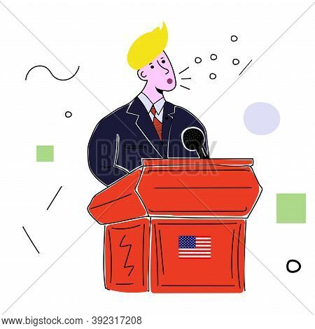 American Politician Stands Behind The Podium, Vector Illustration On A White Background, President O