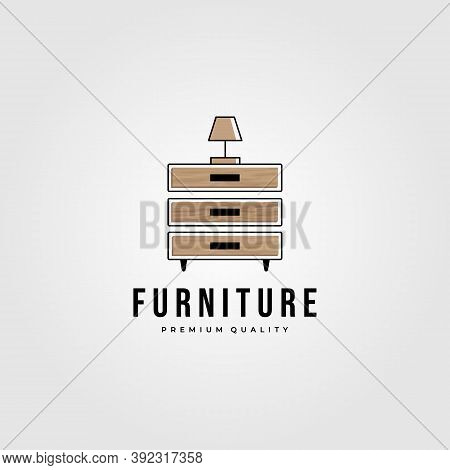 Drawer Furniture Hardwood Logo Vector Illustration Design, Furniture Minimalist Logo Design