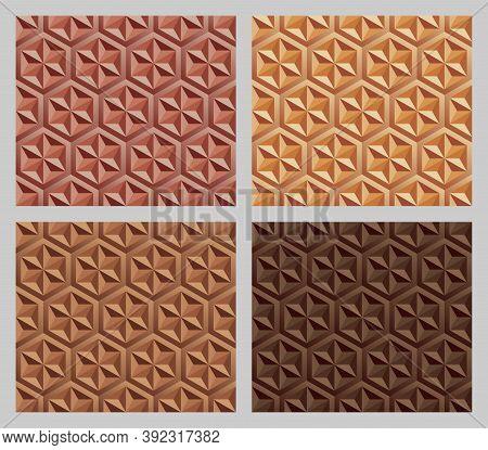 Geometric Hexagram Shapes Seamless Patterns. Earth Tone Orange Color Background Set. Vector Illustra