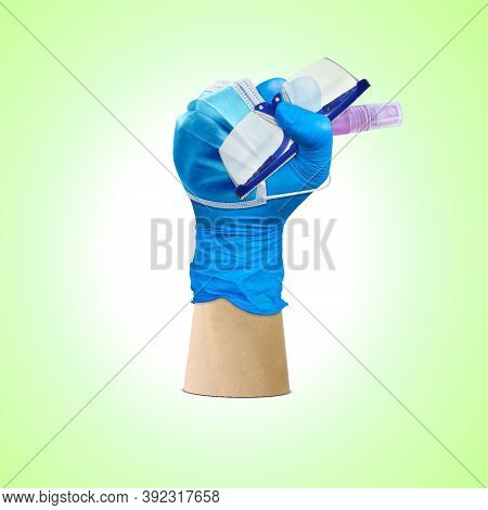 Labor Day, Hand Fist Wear Medical Gloves Hold On Protection Glass And Hand Sanitizer, Medical Team D