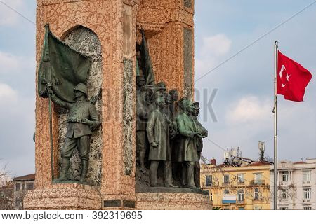 Istanbul, Turkey - October 11, 2019: The Monument of the Republic on Taksim square in Istanbul, Turkey