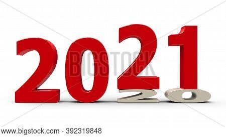 2020-2021 Change Represents The New Year 2021, Three-dimensional Rendering, 3d Illustration