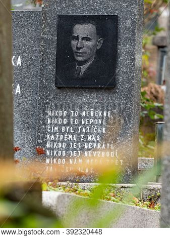 Aged Man Portrait Engraved  In Gray Granite With Poem  24th Of October 2020. Hronov, Czechia.  Helow
