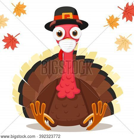 Turkey Bird In A Medical Mask, Coronavirus Concept. Thanksgiving Day