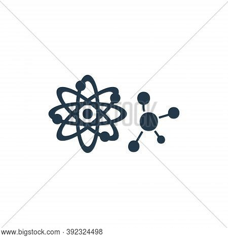 Atom Molecule Icon On White Background. Scientific Research, Chemistry Sign For Pharma Or Physics Co