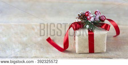 Christmas Festive Background. Christmas Background, Festive Christmas. Red Gift With A Red Ribbon. S