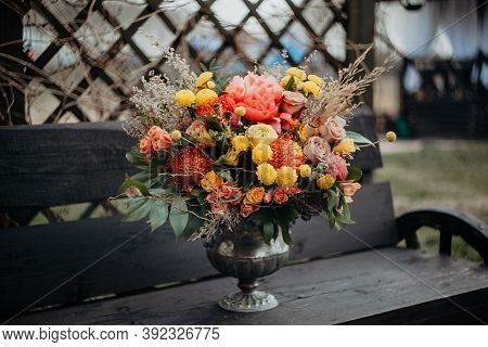 Juicy Bright Autumn Bridal Bouquet, Wedding Bouquet In Boho Style, Red Orange Flowers In The Composi