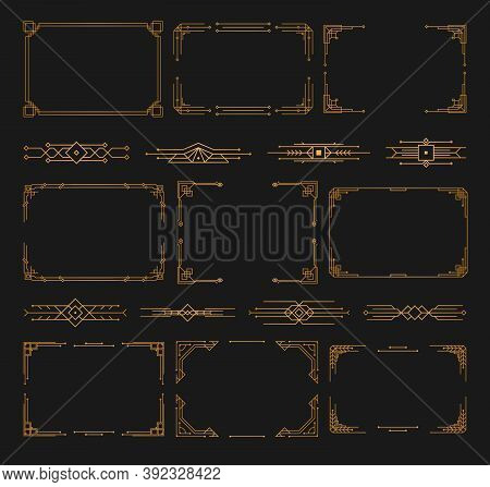 Golden Geometric Template In Style Of 1920s, Art Deco Corners For Borders And Frames. Invitation, Gr