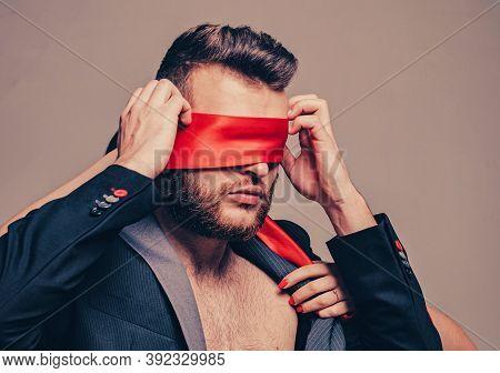 Awakening His Desire. Female Tease Guy. Macho Well Groomed Bearded Hipster Tied Eyes Red Ribbon. Sex
