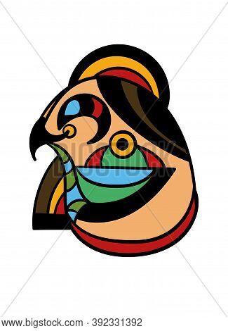 Art Tattoo Picture Of Eagle Head. Egyptian God. Colorful Tattoo. Ancient Egypt Mythology. Ancient Ci