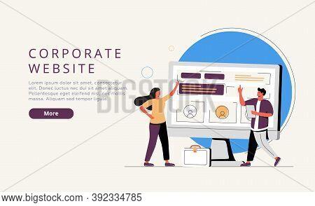 Corporate Website Website Ui Kit. Official Company Website, Business Online Representation, Corporat