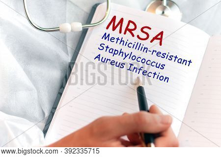 Doctor Holding A Card With Text Mrsa Methicillin-resistant Staphylococcus Aureus Infection Medical C