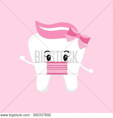 Cute Tooth Baby Girl With Medical Mask Isolated On Background. Flat Design Cartoon Style Personal Hy