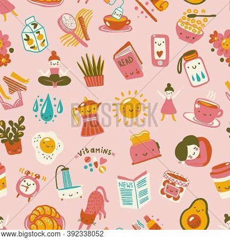 Good Morning Seamless Pattern. Cute Positive Pattern About Morning Habits And Rituals.