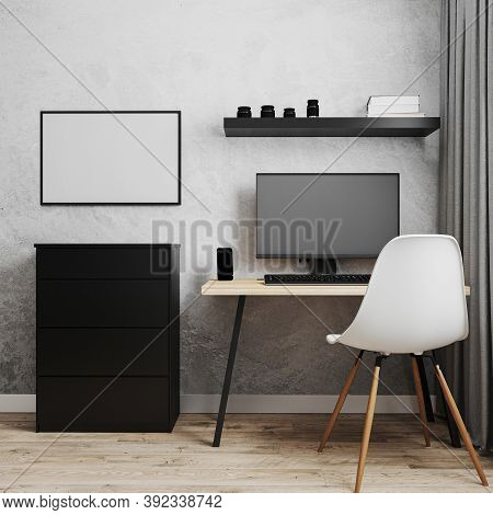 Workplace With Pc On Loft Style Wooden Table With White Chair, Black Chest Of Drawers And Empty Gray