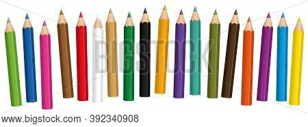 Short Crayons, Mixed Colors, Baby Pencil Set, Loosely Arranged - Isolated Vector Illustration On Whi