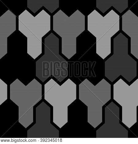 Repeated Grey Puzzle On Black Background. Seamless Surface Pattern Design With Mosaic Ornament. Logi
