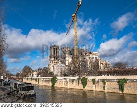 Paris, France - February 17, 2020.: Notre-dame De Paris Being Restored After The Cathedral Caught Fi