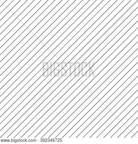Diagonal Thin Black Lines Abstract On White Background. Seamless Surface Pattern Design With Linear