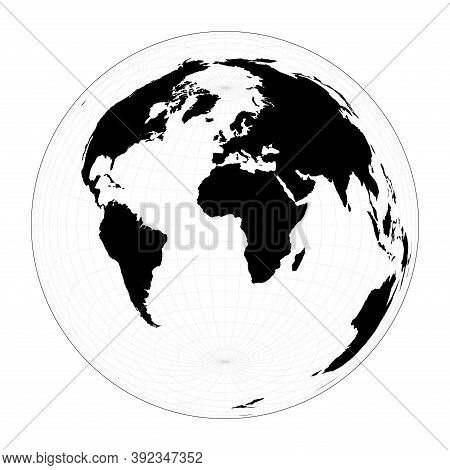 World Map With Longitude Lines. Lambert Azimuthal Equal-area Projection. Plan World Geographical Map