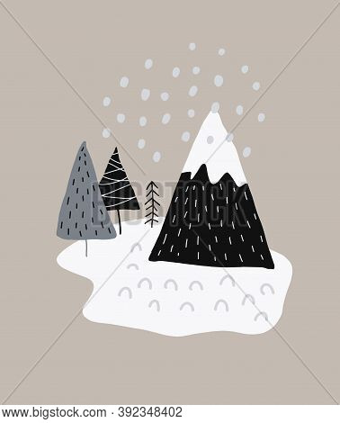 Lovely Winter Mountain Landscape Vector Illustration. Abstract Scandinavian Style Art With Christmas