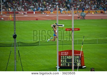 Olympic Pole Vaulter Clears Bar And Wins Gold