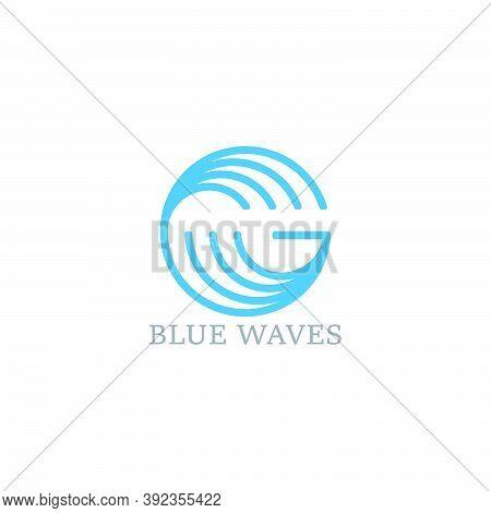 Letter G Blue Waves Simple Geometric Linear Logo Vector