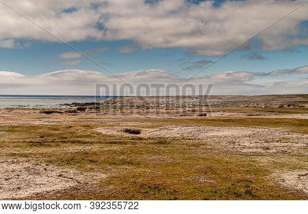 Stanley, Falkland Islands, Uk - December 15, 2008: Flat Sandy Windswept Green And Dry Grassland Desc