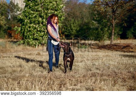 A Young Informal Woman With Piercings And Pigtails Walks In The Park With Her Dog. A Black Pit Bull