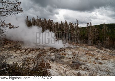 Steamboat Geyser In Yellowstone National Park On Overcast Day
