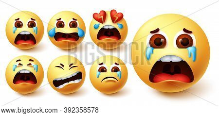 Emojis Hungry Vector Set. Emoji Avatar Character Face In Hungry, Silly, In Love, Happy And Dizzy Fee