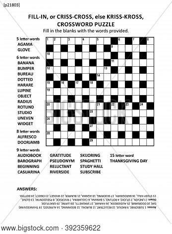 Large Print Quick Style Criss-coss (or Fill-in, Else Kriss-kross) Crossword Puzzle Game Of 15x15 Gri